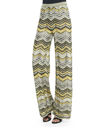 Metallic Zigzag Top W/ Tie Front & Wide-Leg Zigzag Pants