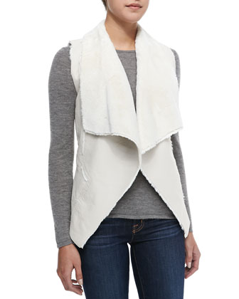 Trooper Faux-Shearling Vest, White