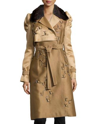 Fur-Collar Trenchcoat