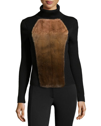 Mink-Front Wool Turtleneck