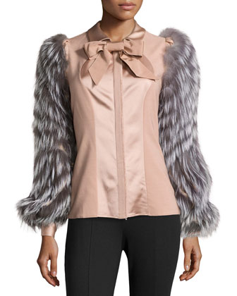 Fur-Sleeve Bow-Neck Blouse