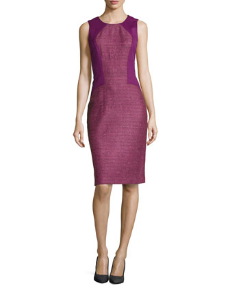 Tweed & Ponte Sleeveless Sheath Dress