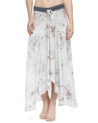 Printed Arched-Hem Coverup Skirt