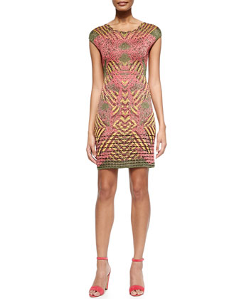 Lurex Placed Print Dress