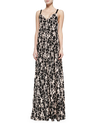 Printed Maxi Dress W/ Braided Straps
