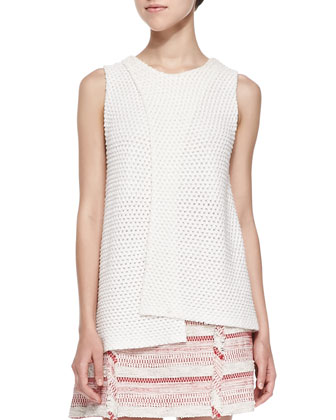 Sleeveless Crossover Crochet Top & A-Line Mini Skirt W/ Fringe Detail