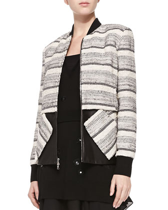 Zip-Front Tweed & Leather Jacket