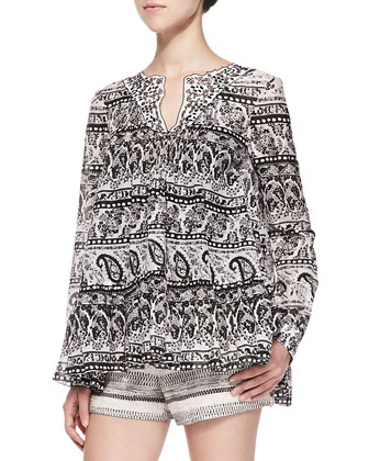 Long-Sleeve Paisley Blouse W/ Contrast Collar & Tweed Shorts with Braided ...