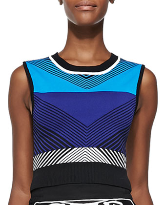 Chevron-Pattern Knit Crop Top