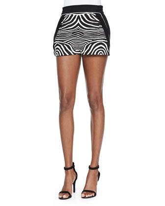 Chevron-Pattern Knit Crop Top & Zebra-Print/Solid Resort Shorts