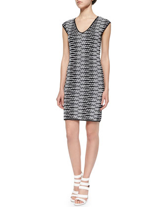 V-Neck Dress W/ Pebble Chevron Stripes