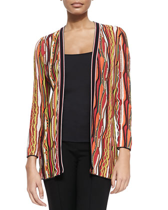 Ripple-Striped Ribbon Cardigan
