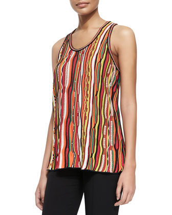 Ripple-Striped Ribbon Tank