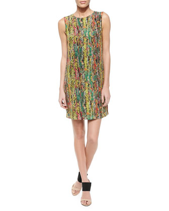 Sleeveless Print Silk Shift Dress