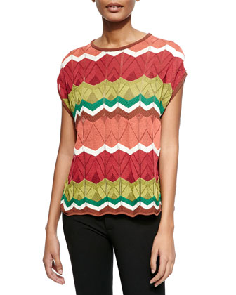 Short-Sleeve Zigzag Pointelle Top