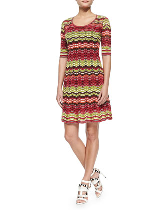 Zigzag Striped Knit Dress