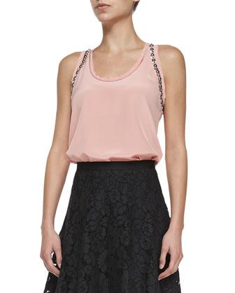 Silk Tank W/ Mod Deco Embellishment & Flared Corded Lace Skirt