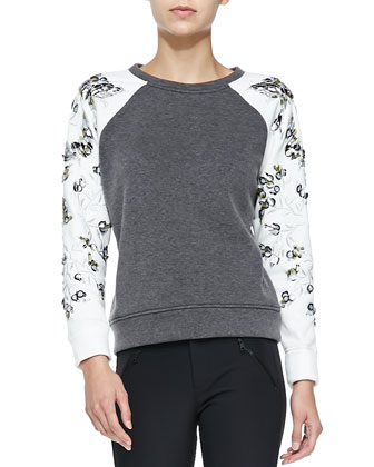 Embroidered-Sleeve Sweatshirt, Heather Gray/Chalk