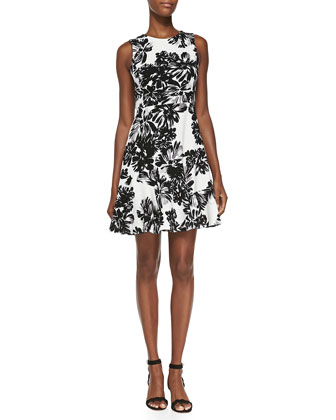 Sleeveless Splashed Flowers Flippy Dress