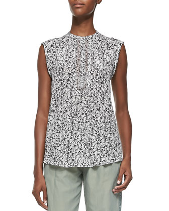 Feather-Print Sleeveless Blouse & Cropped Twill Pull-On Army Pants