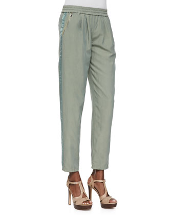 Cropped Twill Pull-On Pants, Army