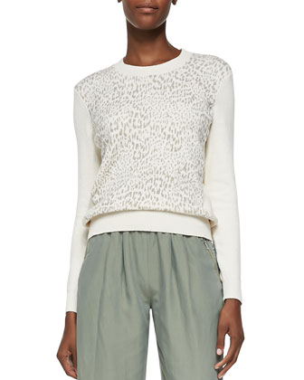 Crewneck Tomcat-Print Bodice Pullover & Cropped Twill Pull-On Army Pants