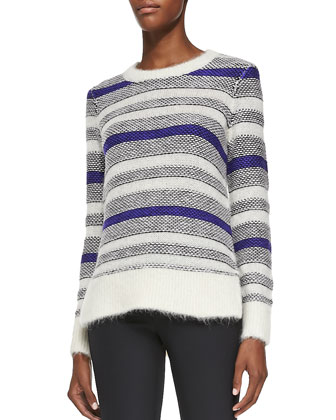 Fuzzy Long-Sleeve Striped Pullover & Ava Slim-Leg Techy Pants