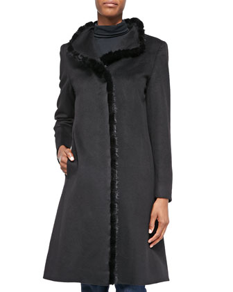 A-line Alpaca-Blend Mink-Trim Coat