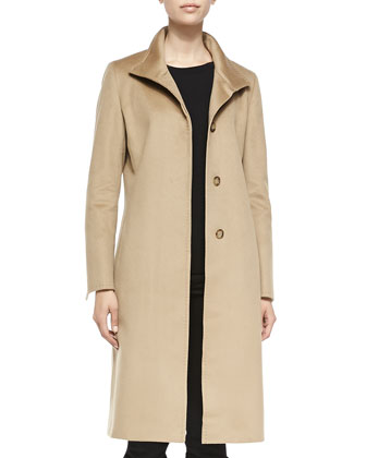 Hidden-Button Wool Coat