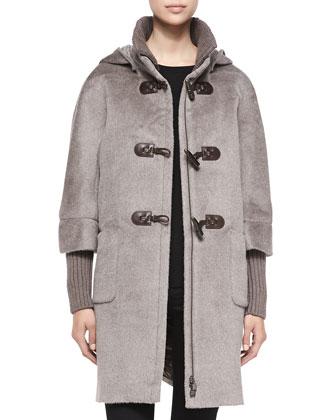 Llama-Wool Toggle Coat, Taupe
