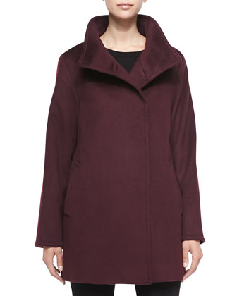 Hidden-Button Wool Coat, Plum