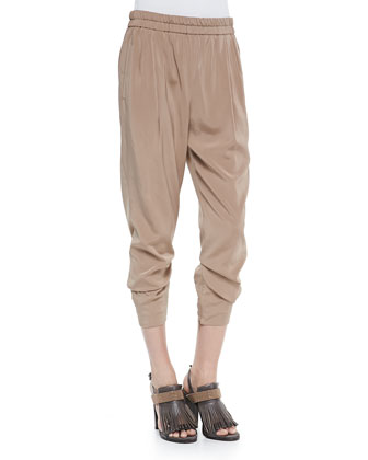 Silk Pants W/ Monili Side Panels