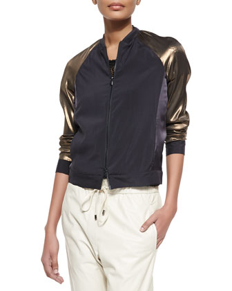Colorblock Satin & Metallic Track Jacket, Volcano