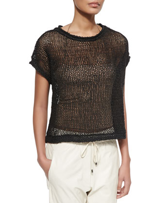 Rubberized Open Weave Top, Chalkboard
