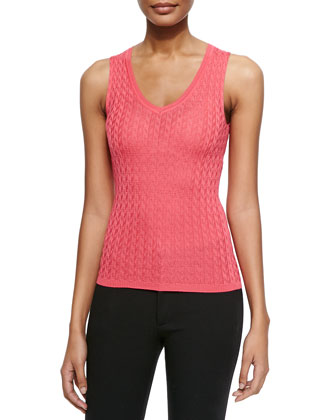 Solid Chevron Knit Tank, Pink