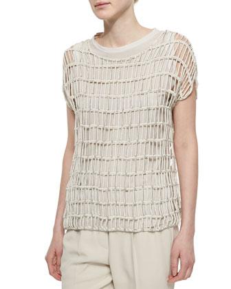 Pleat-Front Denim Overalls & Open-Weave Shimmer Pullover