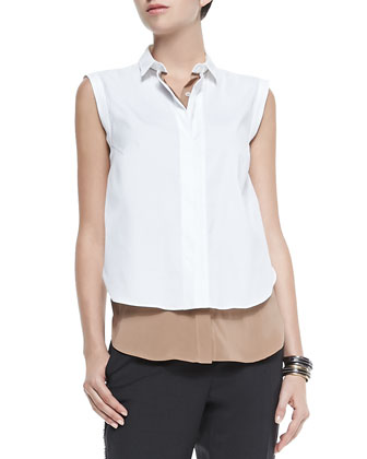 Two-Tone Layered Sleeveless Blouse, Biscotti/White