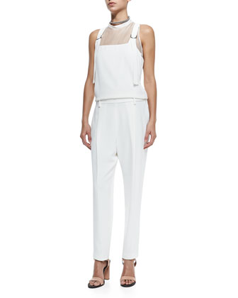 Clean Canvas Snap-Button Vest, Sleeveless Silk Overalls Jumpsuit & Monili ...
