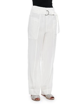 Wide-Leg Pants in Sheer Cotton