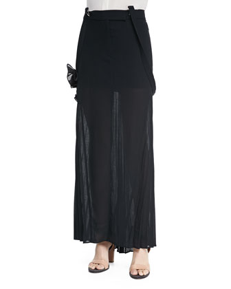 Sleeveless Hidden-Placket Silk Henley Blouse, Long Pleated Skirt W/ ...