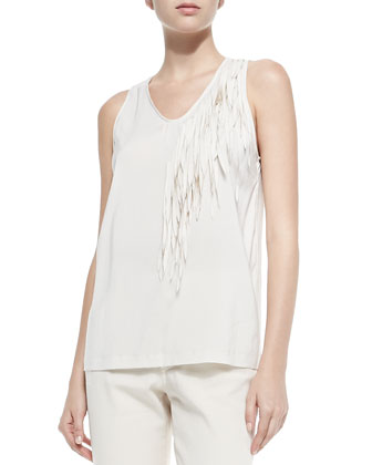 Reversible Zip-Front Shearling Jacket, Silk Camisole with Asymmetric Fringe ...