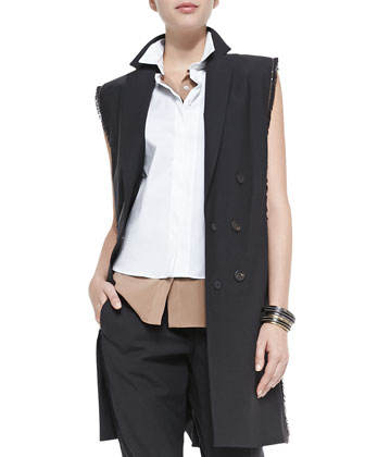 Fringe & Monili Chain Long Vest, Two-Tone Layered Sleeveless Blouse & ...