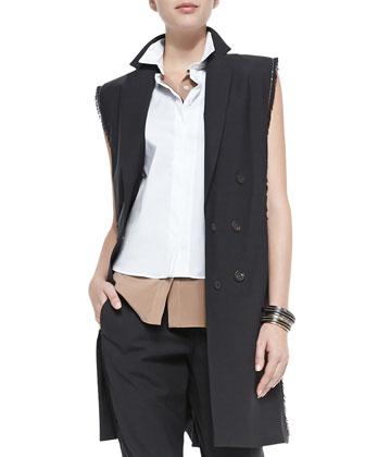 Fringe & Monili Chain Long Vest, Two-Tone Layered Sleeveless Blouse & ...