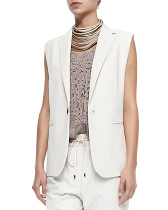 Clean Canvas Snap-Button Vest, Layered Silk Crepe Tank & Pleated Pull-On ...