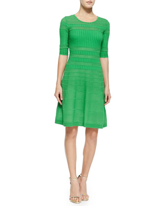 Solid Rib-Stitched Fit & Flare Dress, Leaf