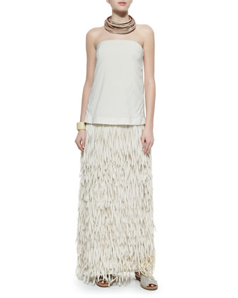Strapless Layered Fringe Gown, Multi-Strand Leather Necklace & Leather Cuff ...