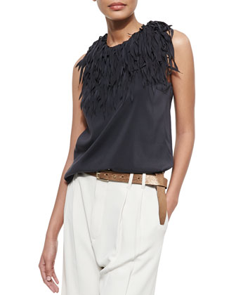 Fringe-Collar Tank Top, Volcano