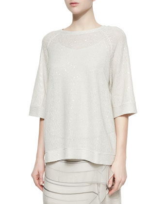 Reverse Paillette Knit Top, Vanilla