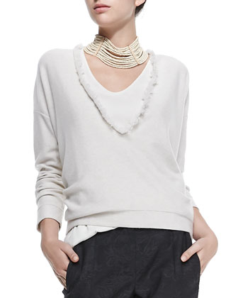 Cashmere Pullover w/ Fringed Neckline, Scoop-Neck Silk Cami, Cropped ...