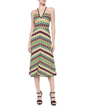 Striped Halter Knee-Length Dress